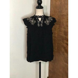 Maurice's Women's Black Embroidered Blouse Medium
